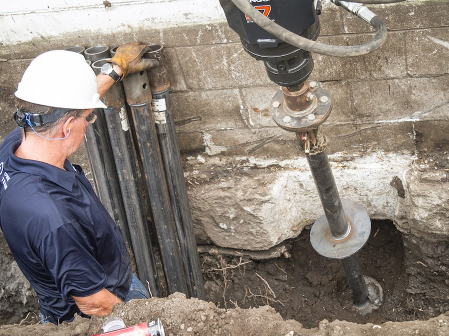 Engineer working on foundation repair on a home in Tennesee
