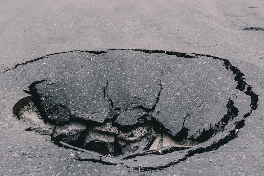 Sink hole in road