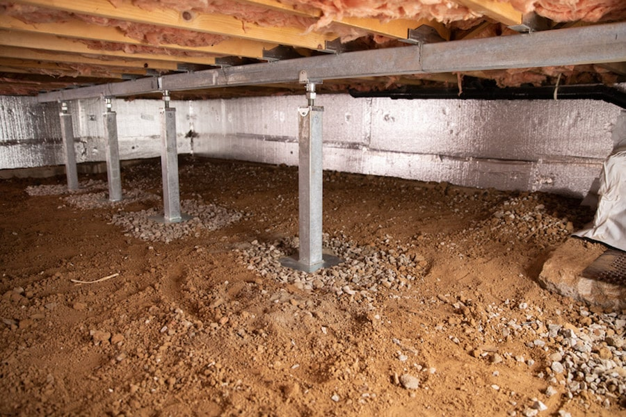 Smart jacks in crawlspace before encapsulation