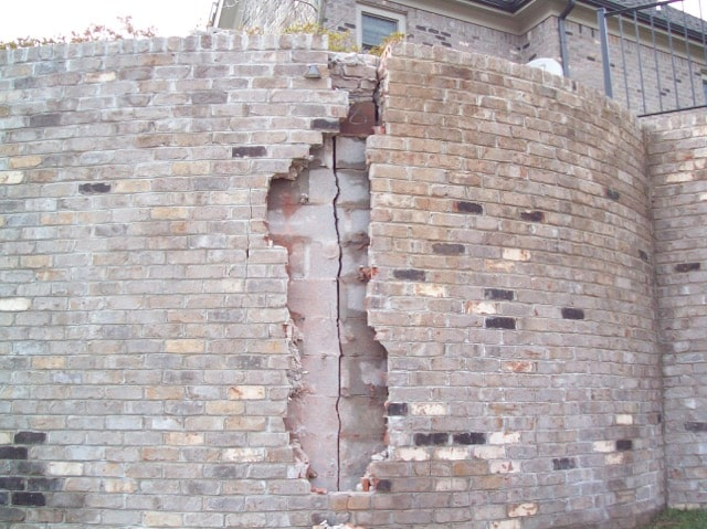 helix anchors repaired and recovered with brick