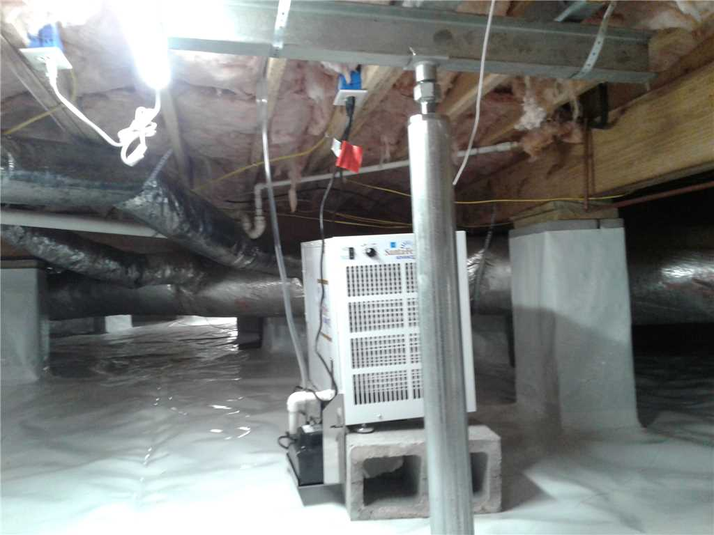 Eastern Tennessee crawl space with new dehumidifier